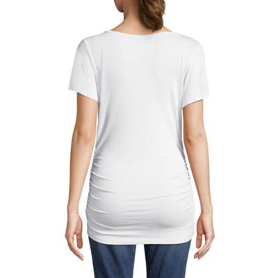 Planet Motherhood Short Sleeve Cage Neck Tee - Maternity