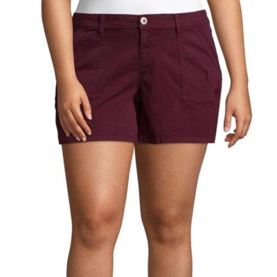 "Arizona 4 1/2"" Utility Midi Shorts-Juniors Plus"