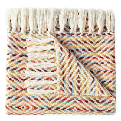 JCPenney Home Diamond Fringed Throw