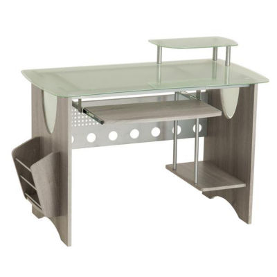 Techni Mobili Stylish Frosted Glass Top Computer Desk With Storage    JCPenney