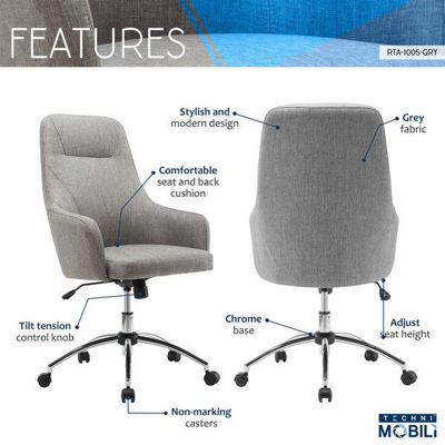 Techni Mobili Comfy Height Adjustable Rolling Office Desk Chair