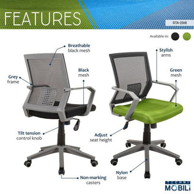Techni Mobili Rolling Mesh Office Task Chair with Arms