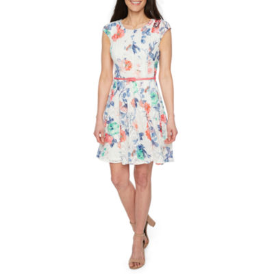 R & K Originals Short Sleeve Floral Fit & Flare Dress-Petite