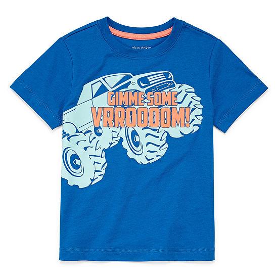 Okie Dokie Boys Round Neck Short Sleeve Graphic T-Shirt-Toddler