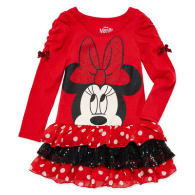 Disney Long Sleeve Minnie Mouse A-Line Dress - Preschool Girls