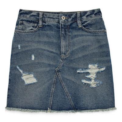 Arizona Destructed Denim Skirt-Juniors