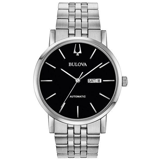 Bulova American Clipper Mens Silver Tone Stainless Steel Bracelet Watch-96c132