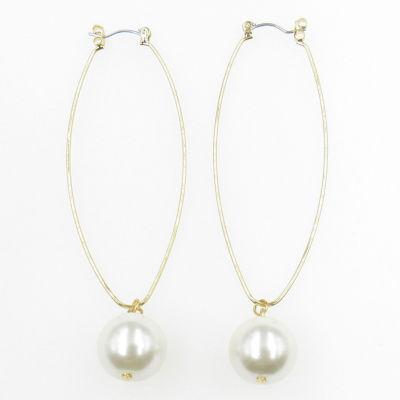 Vieste Rosa White Brass Hoop Earrings