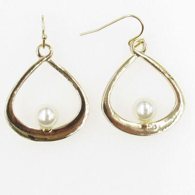 Vieste Rosa Prl 0518 Modern Pearl White Brass Drop Earrings