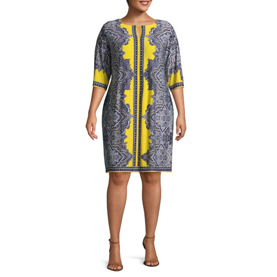 Studio 1 Elbow Sleeve Paisley Sheath Dress - Plus