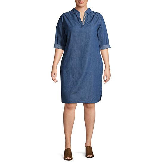 Luxology Short Sleeve Shirt Dress - Plus