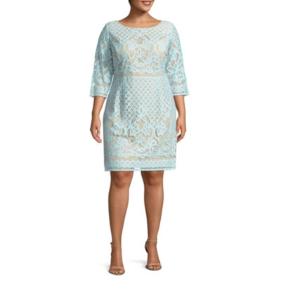 Danny & Nicole 3/4 Sleeve Floral Shift Dress - Plus