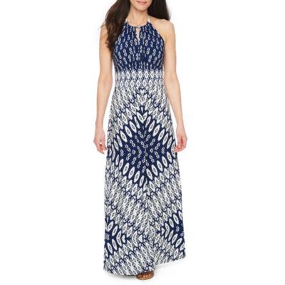 London Style Sleeveless Pattern Maxi Dress-Petites