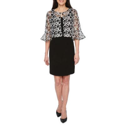 Scarlett Sleeveless Embroidered Pattern Shift Dress-Petites