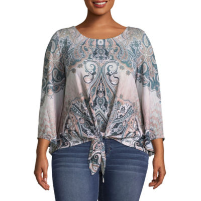 Unity World Wear 3/4 Sleeve Printed Tie Front Blouse - Plus