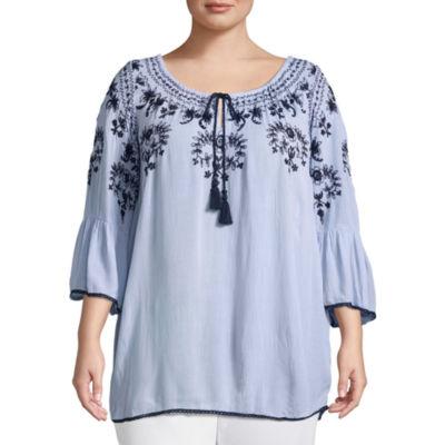 3/4 Sleeve Embroidered Peasant Blouse - Plus