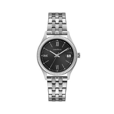 Caravelle Womens Silver Tone Bracelet Watch-43m115