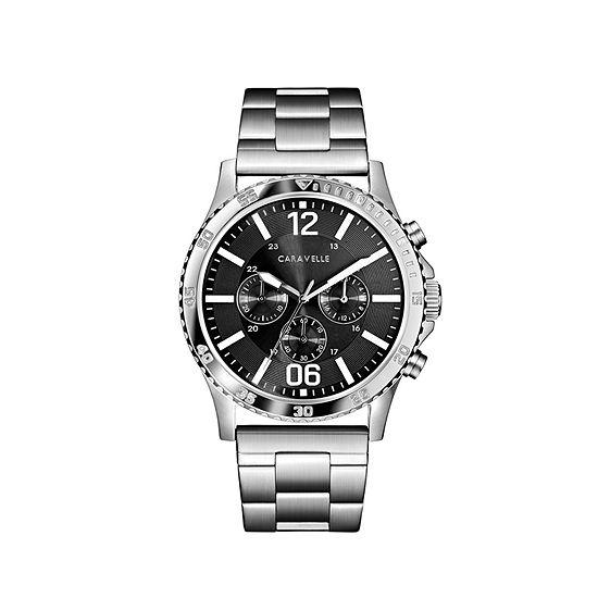 Caravelle Mens Silver Tone Bracelet Watch-43a144