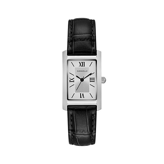 Caravelle Designed By Bulova Womens Diamond Accent Black Leather Strap Watch-43l202