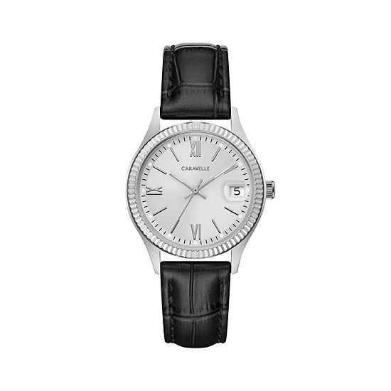 Caravelle Designed By Bulova Womens Black Leather Strap Watch-43m116