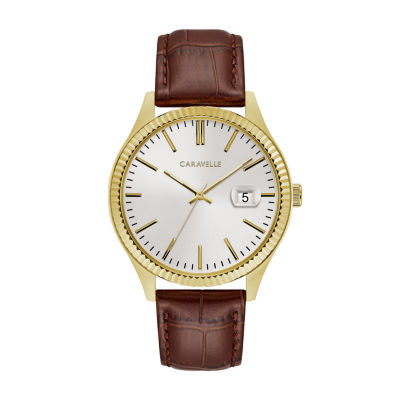 Caravelle Mens Brown Strap Watch-44b115
