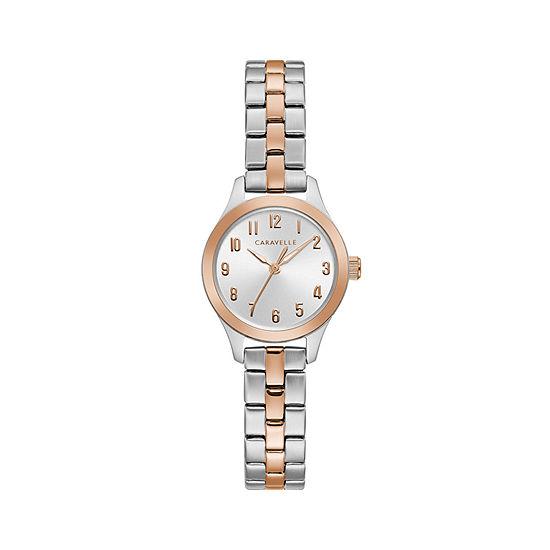 Caravelle Designed By Bulova Womens Rose Goldtone Stainless Steel Bracelet Watch-45l175