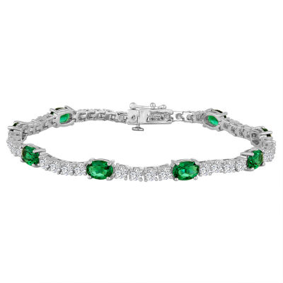 Womens Green Emerald Sterling Silver Tennis Bracelet