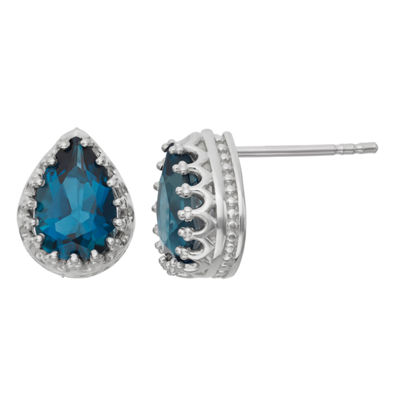 Genuine Blue Topaz Sterling Silver Stud Earrings