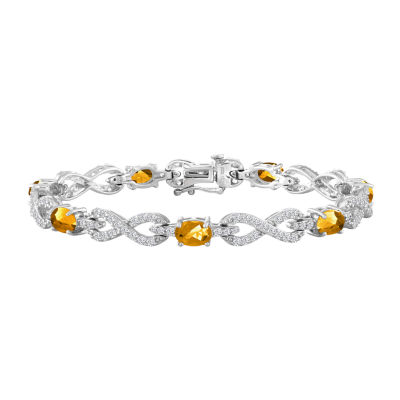 Womens 7 1/2 Inch Yellow Citrine Sterling Silver Chain Bracelet