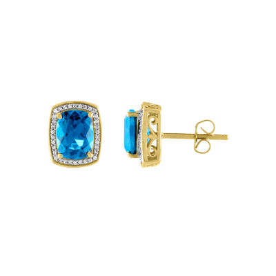 Genuine Blue Topaz 10K Gold Stud Earrings