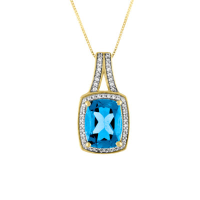 Womens Genuine Blue Topaz 10K Gold Pendant Necklace