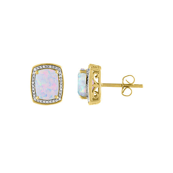 Lab Created White Opal 10K Gold Stud Earrings