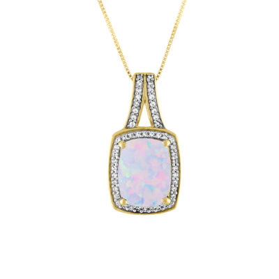 Womens Lab Created Multi Color Opal 10K Gold Pendant Necklace