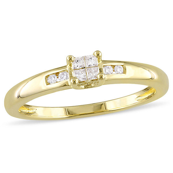 Womens 1/8 CT. T.W. Princess White Diamond 18K Gold Over Silver Engagement Ring