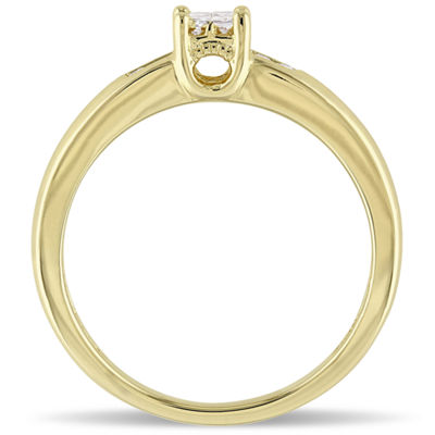 Womens 1/8 CT. T.W. Genuine White Diamond 18K Gold Over Silver Engagement Ring