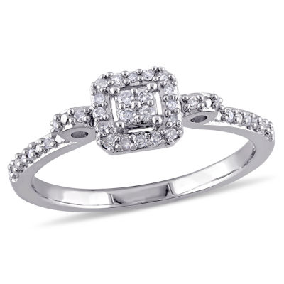 Womens 1/6 CT. T.W. Genuine White Diamond Sterling Silver Engagement Ring