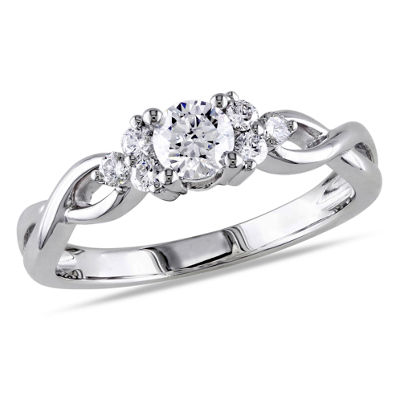 Womens 1/2 CT. T.W. Round White Diamond 14K Gold Engagement Ring
