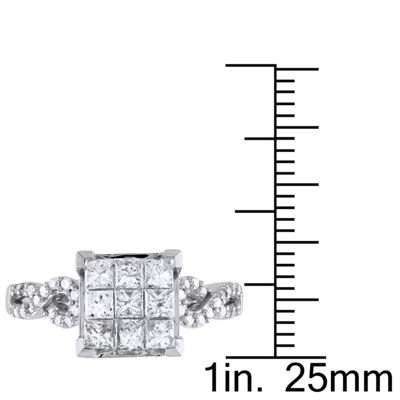 Womens 1 CT. T.W. Princess White Diamond 10K Gold Engagement Ring