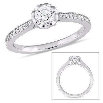 Womens 5/8 CT. T.W. Round White Diamond 14K Gold Engagement Ring