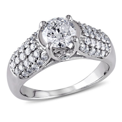 Womens 1 1/4 CT. T.W. Genuine Round White Diamond 14K Gold Engagement Ring