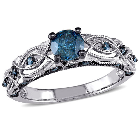 Womens 3/4 CT. T.W. Genuine Blue Diamond 10K Gold Engagement Ring