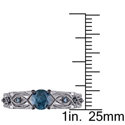 Womens 3/4 CT. T.W. Genuine Blue Diamond 10K Gold Engagement Ring
