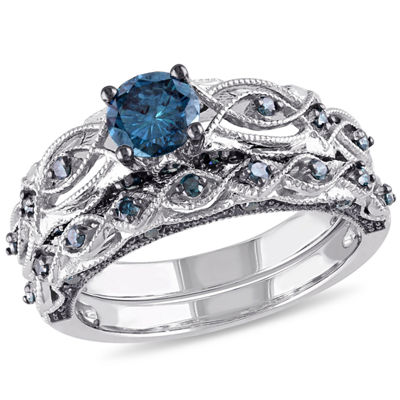 Womens 1 CT. T.W. Blue Diamond 10K Gold Bridal Set
