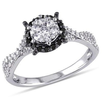 Womens 1/2 CT. T.W. Color Enhanced Round Black Diamond 10K Gold Engagement Ring
