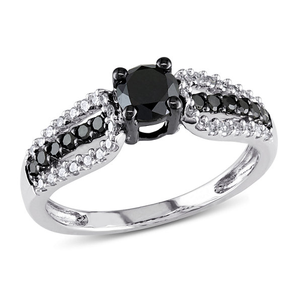 Womens 3/4 CT. T.W. Color Enhanced Round Black Diamond 10K Gold Engagement Ring