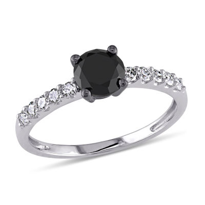Womens 1 CT. T.W. Color Enhanced Round Black Diamond 10K Gold Engagement Ring