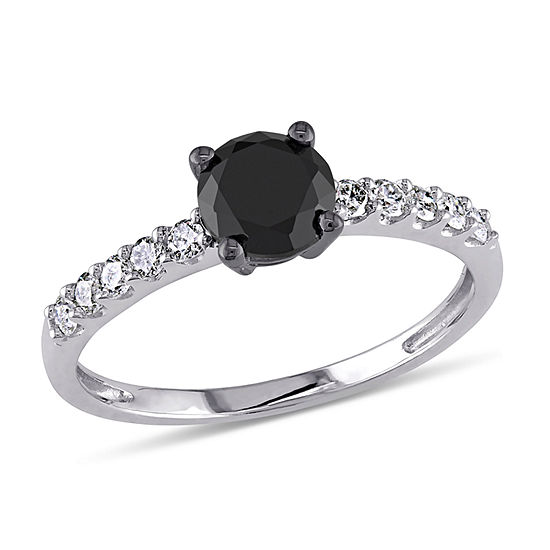 Womens 1 Ct Tw Genuine Black Diamond 10k Gold Engagement Ring