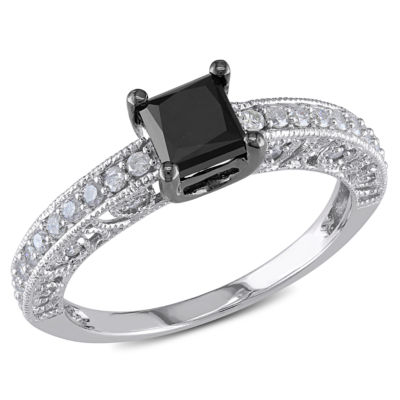 Womens 1 CT. T.W. Color Enhanced Princess Black Diamond 10K Gold Engagement Ring