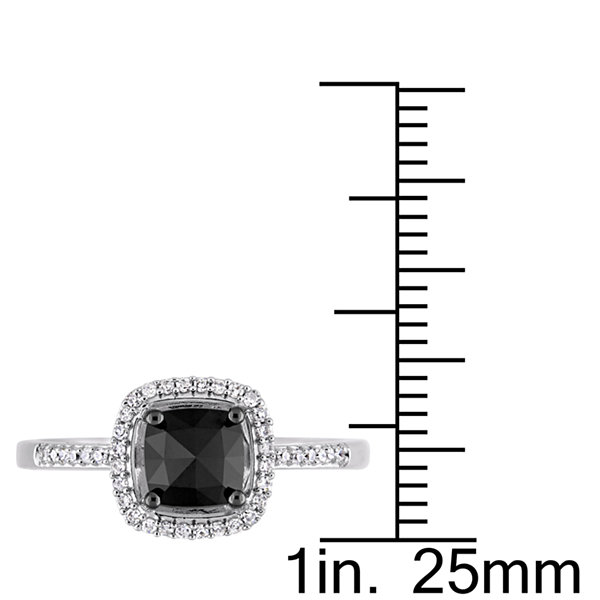 Womens 1 CT. T.W. Color Enhanced Cushion Black Diamond 14K Gold Engagement Ring