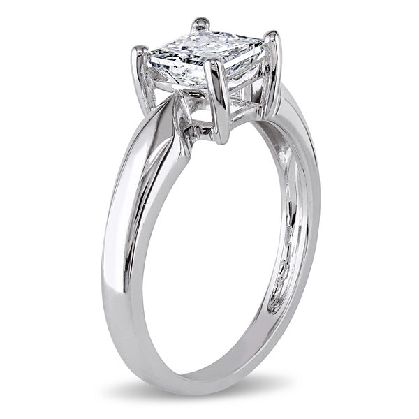 Womens 1 CT. T.W. Genuine Princess White Diamond 14K Gold Solitaire Ring